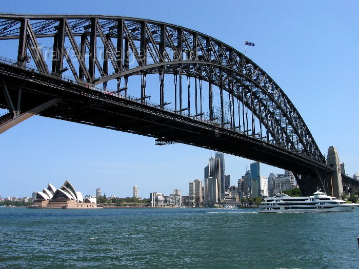 australia83: Australia - Sydney (NSW): Harbour Bridge - from the quays (photo by Angel Hernandez) - (c) Travel-Images.com - Stock Photography agency - Image Bank