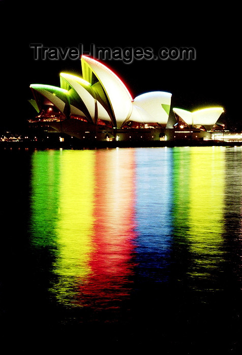 australia9: Sydney - New South Wales, Australia: Sydney Opera House at night - water and light - architect: Jorn Utzon - photo by Rod Eime - (c) Travel-Images.com - Stock Photography agency - Image Bank