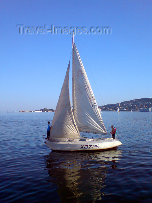 azer116: Azerbaijan - Baku: sailing - the 'Xazar', Caspian in Azerbaijani - boat - small yacht on Baku bay - photo by N.Mahmudova - (c) Travel-Images.com - Stock Photography agency - Image Bank