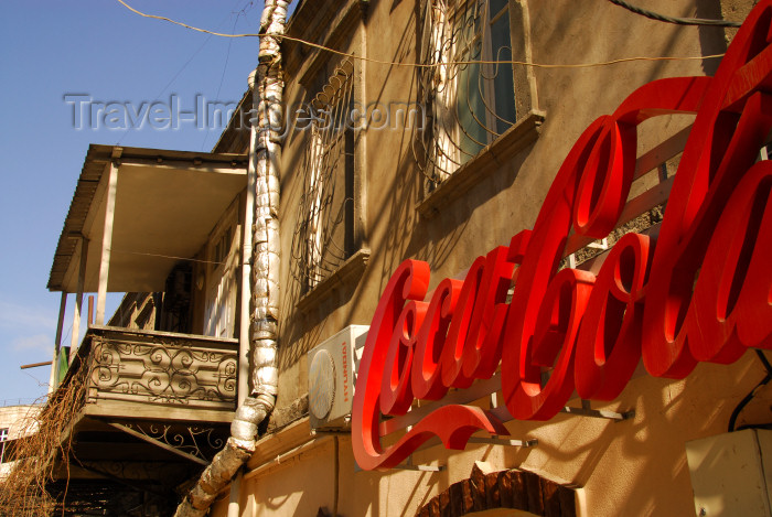 azer12: Azerbaijan - Baku: Azeri balcony and Coca-Cola logo - photo by M.Torres - (c) Travel-Images.com - Stock Photography agency - Image Bank