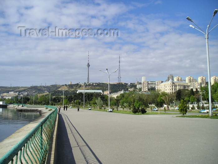 azer123: Baku: on the esplanade, looking towards the TV tower - 'bulvar' - photo by F.MacLachlan - (c) Travel-Images.com - Stock Photography agency - Image Bank