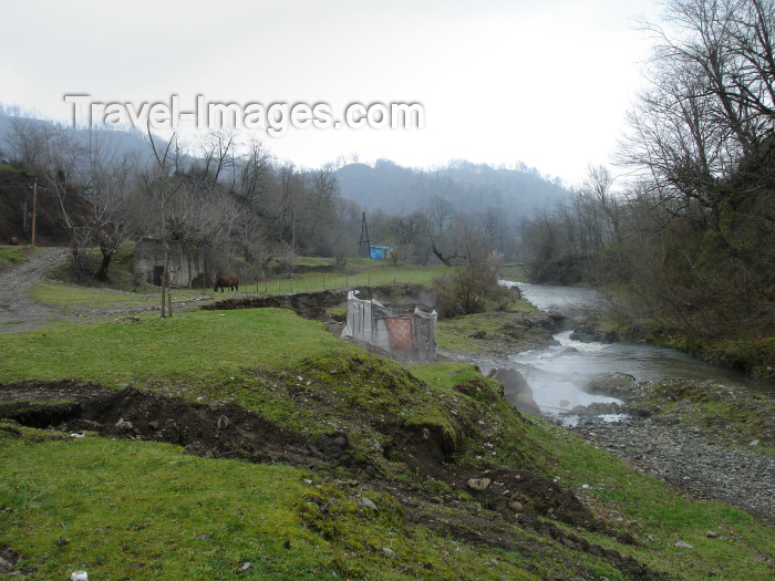 azer174: Isti-Su, Astara region, Azerbaijan: a plastic tent surrounds a couple of knee deep concrete warm water ponds - photo by F.MacLachlan - (c) Travel-Images.com - Stock Photography agency - Image Bank