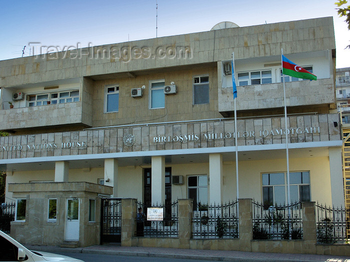 azer273: Baku, Azerbaijan: United Nations House - UN 50th Anniversary street - Birlesmis Milletler Teskilati - photo by N.Mahmudova - (c) Travel-Images.com - Stock Photography agency - Image Bank
