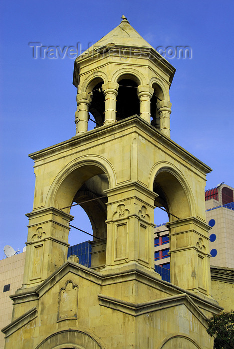 azer279: Azerbaijan - Baku: Armenian Church of St. Gregory Illuminator  - belfry - Armenian Apostolic church - Surb Grigor Lusavorichi Yekeghetsi - photo by Miguel Torres - (c) Travel-Images.com - Stock Photography agency - Image Bank