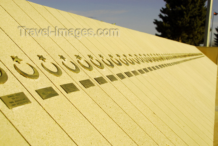 azer290: Azerbaijan - Baku: Turkish war monument - names of fallen Turkish soldiers - Martyrs' alley - photo by Miguel Torres - (c) Travel-Images.com - Stock Photography agency - Image Bank