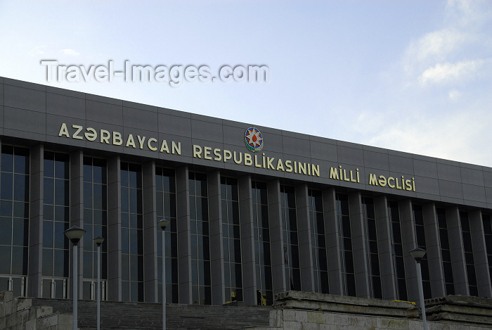 azer334: Azerbaijan - Baku: parliament - National Assembly - Milli Mejlis - façade - photo by Miguel Torres - (c) Travel-Images.com - Stock Photography agency - Image Bank