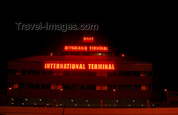 azer335: Azerbaijan - Baku: Baku airport, Geydar Aliyev - GYD, international terminal at night - photo by Miguel Torres - (c) Travel-Images.com - Stock Photography agency - Image Bank