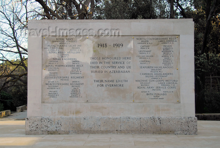 azer367: Azerbaijan - Baku: British war memorial (1918-1919) - Royal Navy, Royal Field Artillery, Machine Gun corps, HIghlanders, 84th Punjabis... - Martyrs' lane - Shahidlar Hiyabany - photo by M.Torres - (c) Travel-Images.com - Stock Photography agency - Image Bank