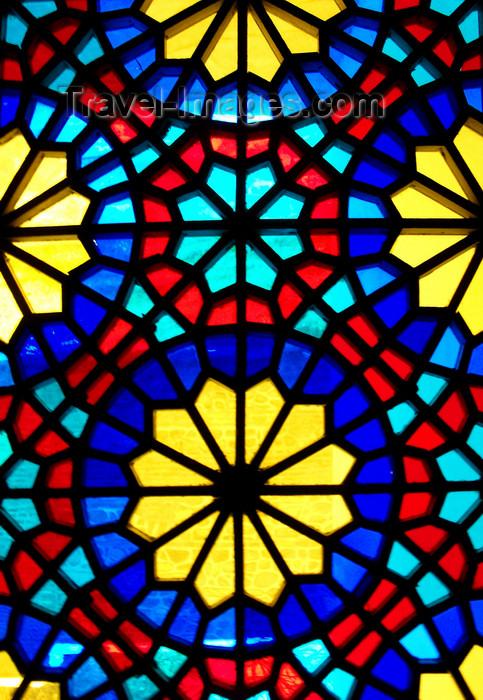 azer439: Sheki / Shaki - Azerbaijan: Sheki Khans' palace - Azeri stained glass work - shebeke detail - Khansarai - photo by N.Mahmudova - (c) Travel-Images.com - Stock Photography agency - Image Bank