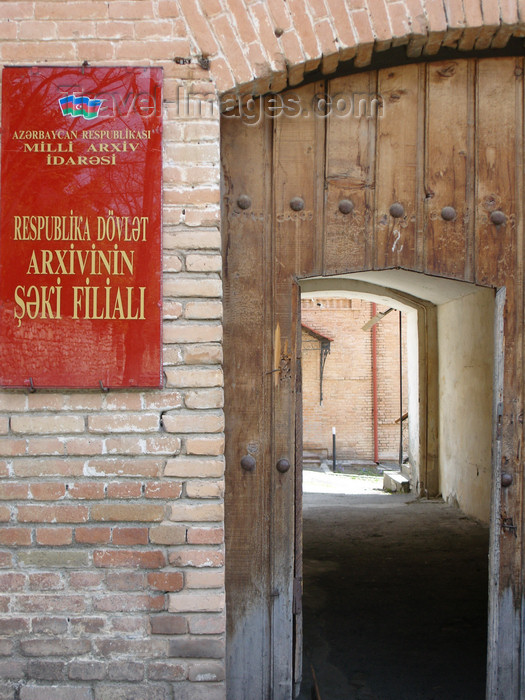 azer444: Sheki / Shaki - Azerbaijan: Sheki branch of the national archive - gate - photo by N.Mahmudova - (c) Travel-Images.com - Stock Photography agency - Image Bank