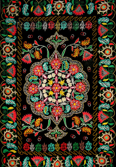 azer445: Sheki / Shaki - Azerbaijan: embroidery - Mutaki case - XIX century - Albanian church - Museum of applied art - photo by N.Mahmudova - (c) Travel-Images.com - Stock Photography agency - Image Bank
