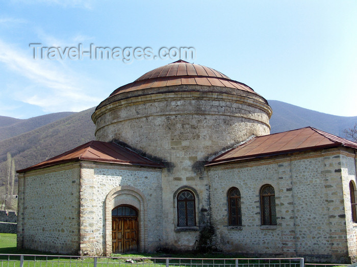 azer447: Sheki / Shaki - Azerbaijan: Albanian church - Museum of applied art - mountains in the background - inside Sheki Khans' Fortress - photo by N.Mahmudova - (c) Travel-Images.com - Stock Photography agency - Image Bank