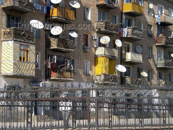azer493: Nakhchivan city, Azerbaijan: residential area - fence and satellite dishes - photo by K.Jafarli - (c) Travel-Images.com - Stock Photography agency - Image Bank