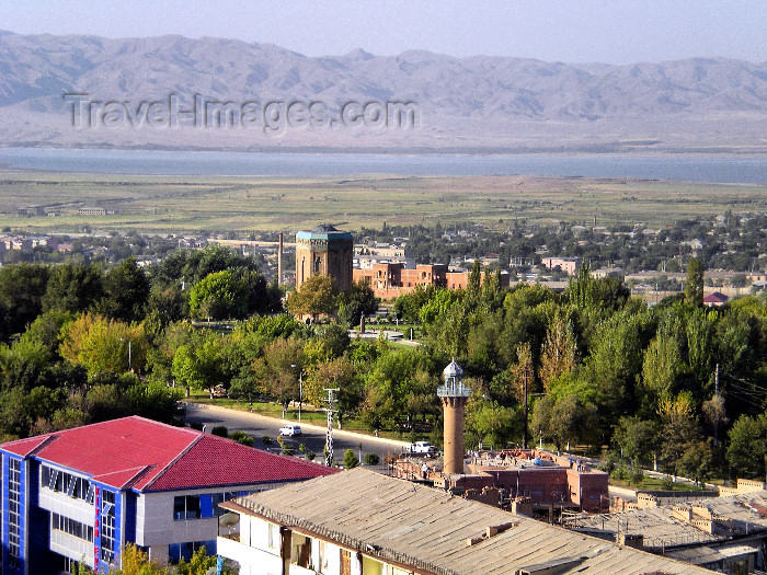 azer494: Nakhchivan city, Azerbaijan: city seen from a roof toop - minaret, mausoleum of Momine Khatun, Aras river and Iranian mountains in the distance - photo by K.Jafarli - (c) Travel-Images.com - Stock Photography agency - Image Bank