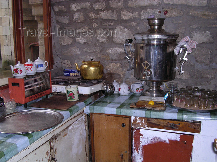 azer518: Baku, Azerbaijan: samovar and armud glasses at an old kitchen - photo by G.Monssen - (c) Travel-Images.com - Stock Photography agency - Image Bank