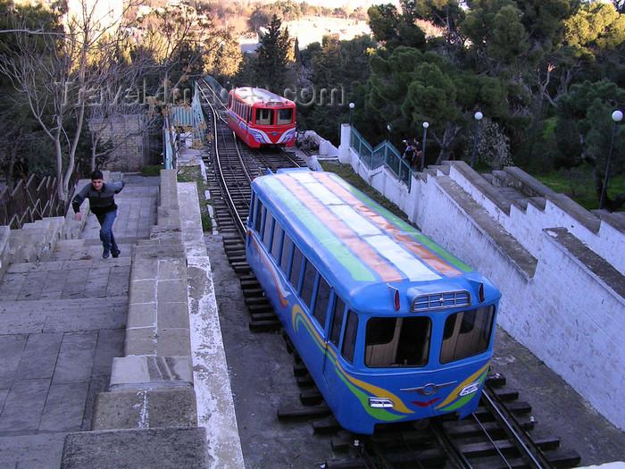 azer521: Baku, Azerbaijan: funicular railway - arriving at Martyrs Lane - photo by G.Monssen - (c) Travel-Images.com - Stock Photography agency - Image Bank