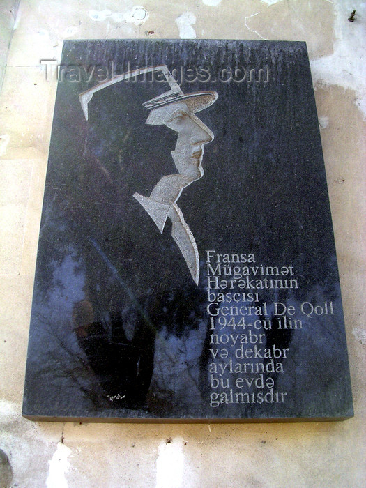 azer531: Baku, Azerbaijan: Charles de Gaulle plaque at Gadjinskii house -  he stayed here 1944 while in transit to Moscow - Neftchilar av - photo by G.Monssen - (c) Travel-Images.com - Stock Photography agency - Image Bank
