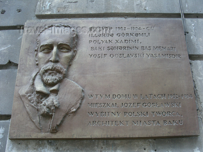 azer541: Baku, Azerbaijan: plaque at the home of Polish architect Josef Goslawski - photo by N.Mahmudova - (c) Travel-Images.com - Stock Photography agency - Image Bank