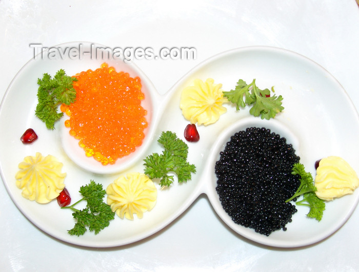 azer544: Baku, Azerbaijan: black and red caviar - Osetra / Ossetra sturgeon and Salmon caviar - photo by N.Mahmudova - (c) Travel-Images.com - Stock Photography agency - Image Bank