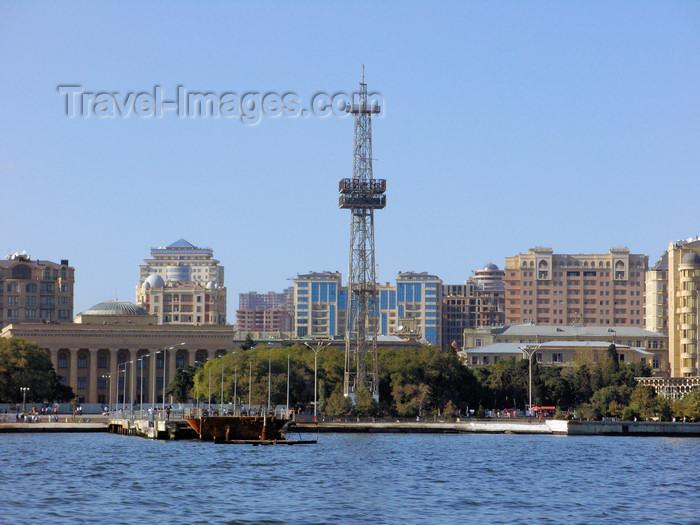 azer545: Baku, Azerbaijan: view from the sea - Carpets museum and clock derrick - Neftchilar avenue - photo by N.Mahmudova - (c) Travel-Images.com - Stock Photography agency - Image Bank