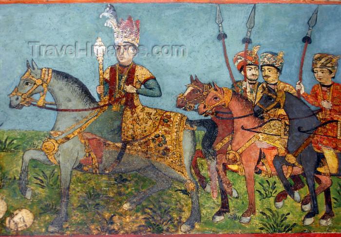azer558: Sheki / Shaki - Azerbaijan: Sheki Khans' palace - fresco - battle seen - the Khan leads his army - severed head on the ground - Khansarai - photo by N.Mahmudova - (c) Travel-Images.com - Stock Photography agency - Image Bank