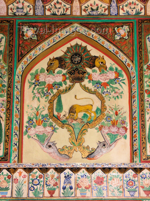 azer559: Sheki / Shaki - Azerbaijan: Sheki Khans' palace - lion and flowers - fresco - Khansarai - photo by N.Mahmudova - (c) Travel-Images.com - Stock Photography agency - Image Bank