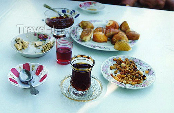 azer94: Azerbaijan - Baku: Azeri tea in an armud - pear shapped glass, with jam and nuts (photo by Galen Frysinger) - (c) Travel-Images.com - Stock Photography agency - Image Bank