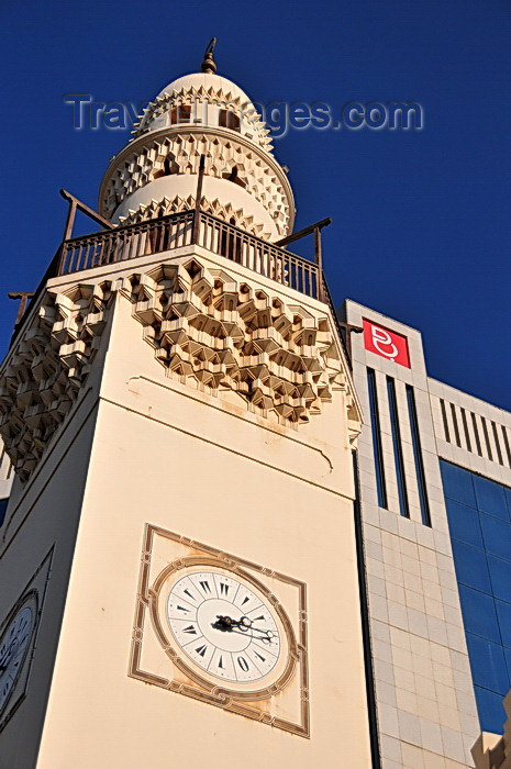 bahrain47: Manama, Bahrain: Abdulla  Ali Yateem Mosque - square minaret with four clocks and decorate with muqarnas - photo by M.Torres - (c) Travel-Images.com - Stock Photography agency - Image Bank