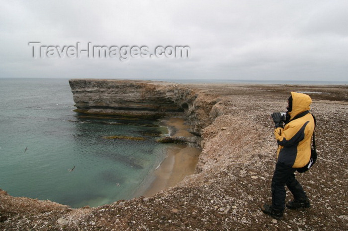 bear-island3: Bear Island / Bjørnøya, Svalbard: visitor on the bird cliffs, above a beach - photo by R.Behlke - (c) Travel-Images.com - Stock Photography agency - Image Bank