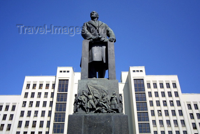 belarus24: Belarus - Minsk: V.I. Lenin and Government House - architect Iosif Langbard -  Independence / Nezaleznasci square (photo by A.Stepanenko) - (c) Travel-Images.com - Stock Photography agency - Image Bank