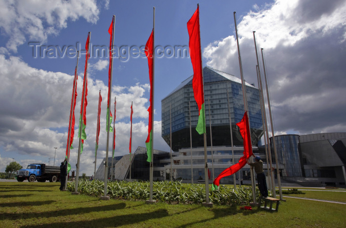 belarus78: Minsk, Belarus: raising flags at the National Library of Belarus - photo by A.Dnieprowsky - (c) Travel-Images.com - Stock Photography agency - Image Bank