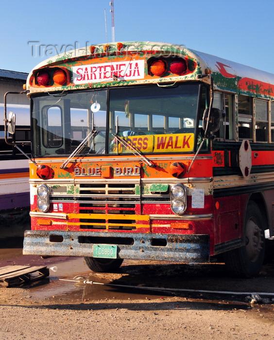 belize116: Belize City, Belize: Sartaneja Blue Bird bus on Regent St west - photo by M.Torres - (c) Travel-Images.com - Stock Photography agency - Image Bank