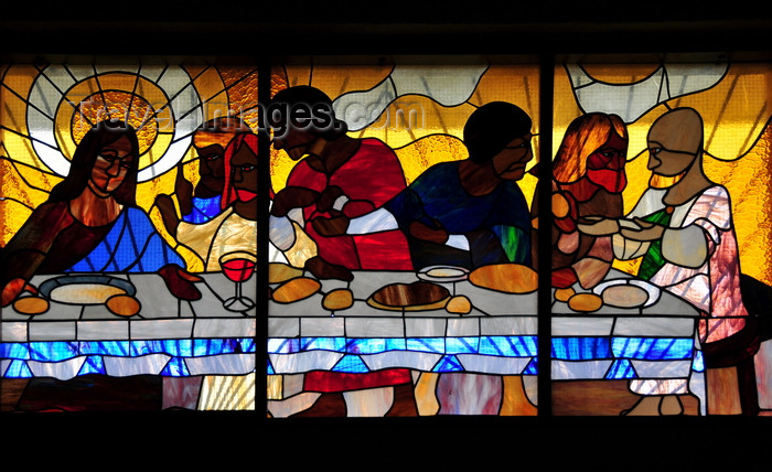belize13: Belmopan, Cayo, Belize: St. Ann's Anglican Church - last supper - stained glass and laminated stone - photo by M.Torres - (c) Travel-Images.com - Stock Photography agency - Image Bank