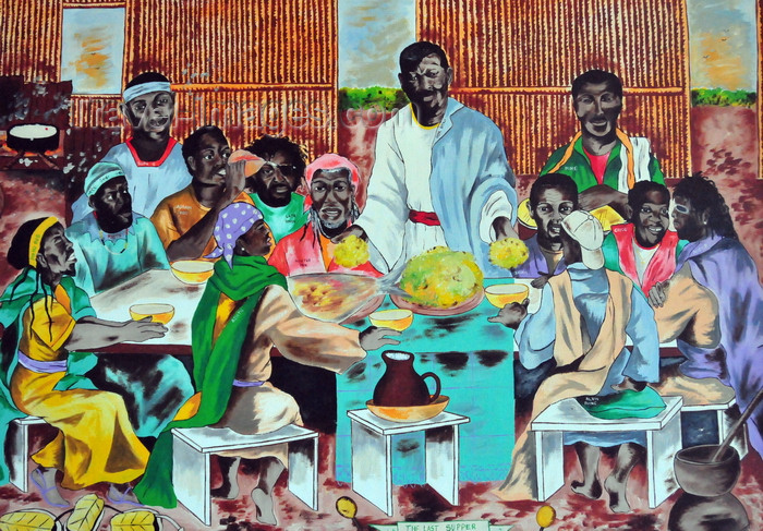 belize155: Belize City, Belize: a black last supper - painting at the Government House - House of Culture - photo by M.Torres - (c) Travel-Images.com - Stock Photography agency - Image Bank