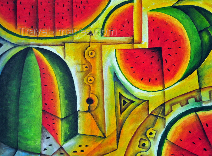 belize156: Belize City, Belize: watermelons - painting at the Government House - House of Culture - photo by M.Torres - (c) Travel-Images.com - Stock Photography agency - Image Bank