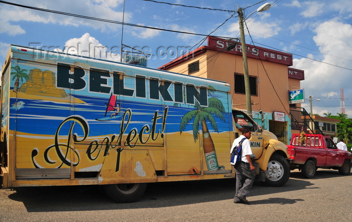 belize64: Belmopan, Cayo, Belize: truck transporting Belikin beer, the leading domestically brewed lager - photo by M.Torres - (c) Travel-Images.com - Stock Photography agency - Image Bank