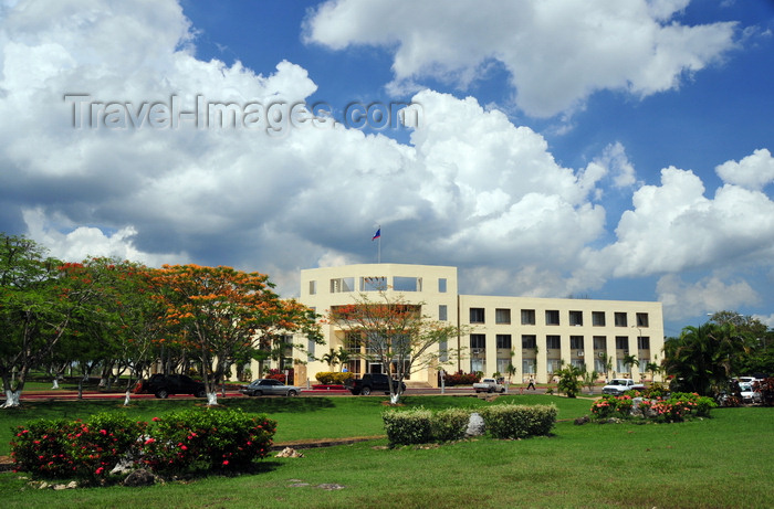 belize68: Belmopan, Cayo, Belize: Sir Edney Cain Building and adjoining garden - New Administration Building - photo by M.Torres - (c) Travel-Images.com - Stock Photography agency - Image Bank