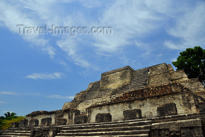 belize83: Altun Ha Maya city, Belize District, Belize: Temple of the Masonry Altars - Classic Period of Maya civilization, 200 to 900 AD - priestly tombs were plundered, their contents destroyed and the crypts filled with soil - photo by M.Torres - (c) Travel-Images.com - Stock Photography agency - Image Bank