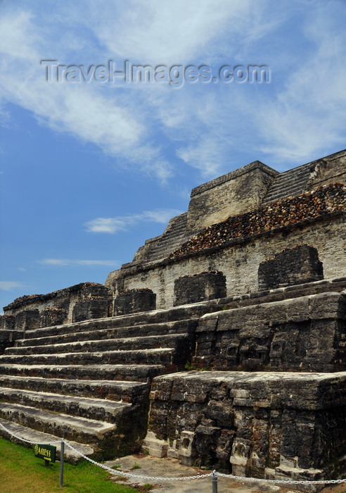 belize84: Altun Ha Maya city, Belize District, Belize: Temple of the Masonry Altars - the city was a major Mayan trading post linking the Caribbean shore with the interior - photo by M.Torres - (c) Travel-Images.com - Stock Photography agency - Image Bank