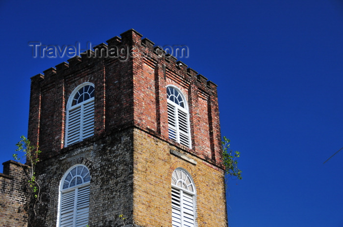 belize99: Belize City, Belize: St. John's Anglican cathedral - tower detail - built by slaves using bricks brought from Britain as ship ballast - photo by M.Torres - (c) Travel-Images.com - Stock Photography agency - Image Bank