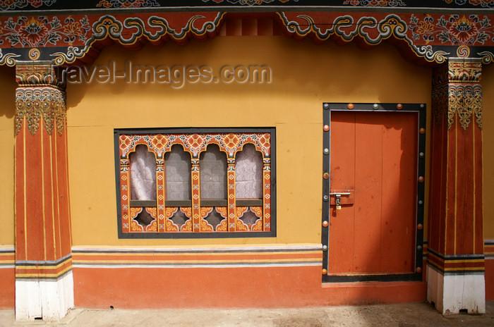 bhutan10: Bhutan - Thimphu - inside Trashi Chhoe Dzong - door and windows - photo by A.Ferrari - (c) Travel-Images.com - Stock Photography agency - Image Bank