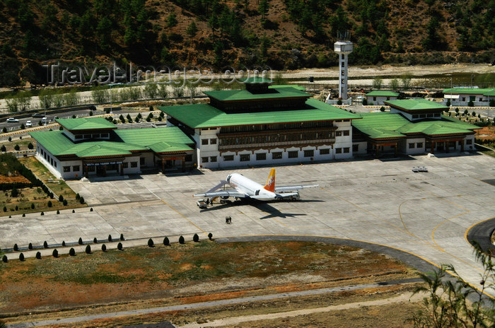 bhutan101: Bhutan - Paro: Paro airport, seen from a nearby hill - terminal and airside - Druk Air Airbus A319-100 - photo by A.Ferrari - (c) Travel-Images.com - Stock Photography agency - Image Bank