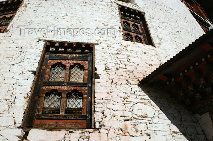 bhutan102: Bhutan - Paro: wall of Bhutan's national museum - windows - photo by A.Ferrari - (c) Travel-Images.com - Stock Photography agency - Image Bank