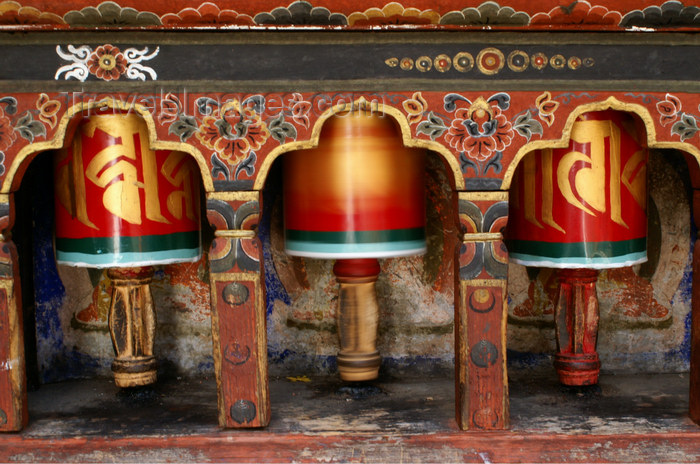 bhutan106: Bhutan - Paro dzongkhag - Prayer wheels in Kyichu Lhakhang, near Paro - photo by A.Ferrari - (c) Travel-Images.com - Stock Photography agency - Image Bank