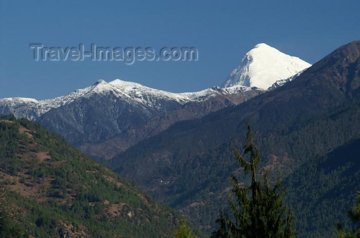 bhutan111: Bhutan - Paro dzongkhag - Mount Chomolhari, seen from the Drukgyel village - photo by A.Ferrari - (c) Travel-Images.com - Stock Photography agency - Image Bank