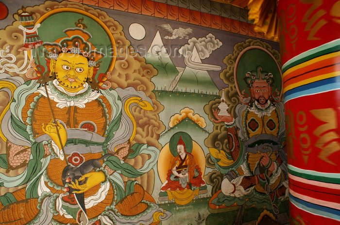 bhutan12: Bhutan - two guardians of the four directions, in Chimi Lhakhang monastery and prayer wheel - photo by A.Ferrari - (c) Travel-Images.com - Stock Photography agency - Image Bank
