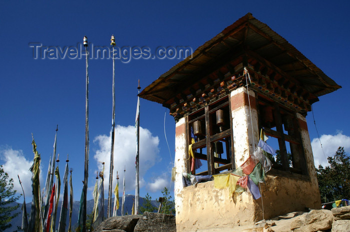 bhutan122: Bhutan - Paro dzongkhag - chorten and vertical prayer flags, on the way to Taktshang Goemba - photo by A.Ferrari - (c) Travel-Images.com - Stock Photography agency - Image Bank
