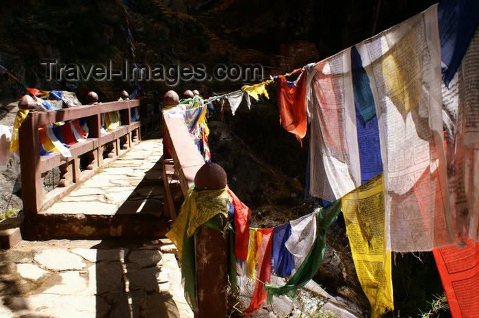 bhutan137: Bhutan - Paro dzongkhag - small bridge with prayer flags, on the way to Taktshang Goemba - photo by A.Ferrari - (c) Travel-Images.com - Stock Photography agency - Image Bank