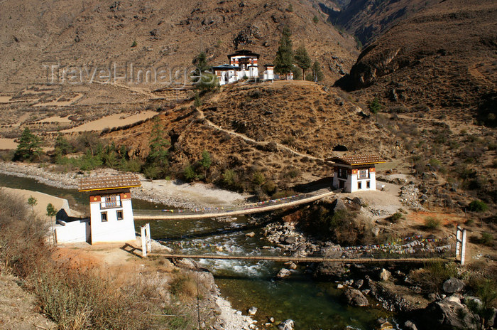 bhutan143: Bhutan - Tamchhog Lhakhang, on the bank of the Paro Chhu - two bridges - photo by A.Ferrari - (c) Travel-Images.com - Stock Photography agency - Image Bank