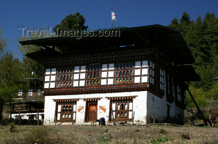 bhutan149: Bhutan - Large Bhutanese house, near the Haa valley - photo by A.Ferrari - (c) Travel-Images.com - Stock Photography agency - Image Bank